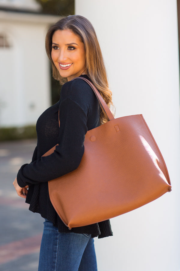 Girl On The Go Tote - Cognac