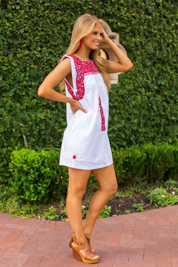 The Melissa Dress- White & Red