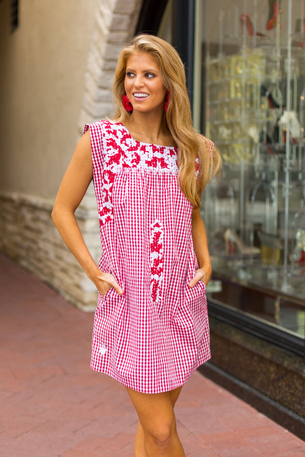 The Maddie Dress- Red & White