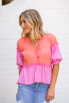 Princess Pleats Top- Coral