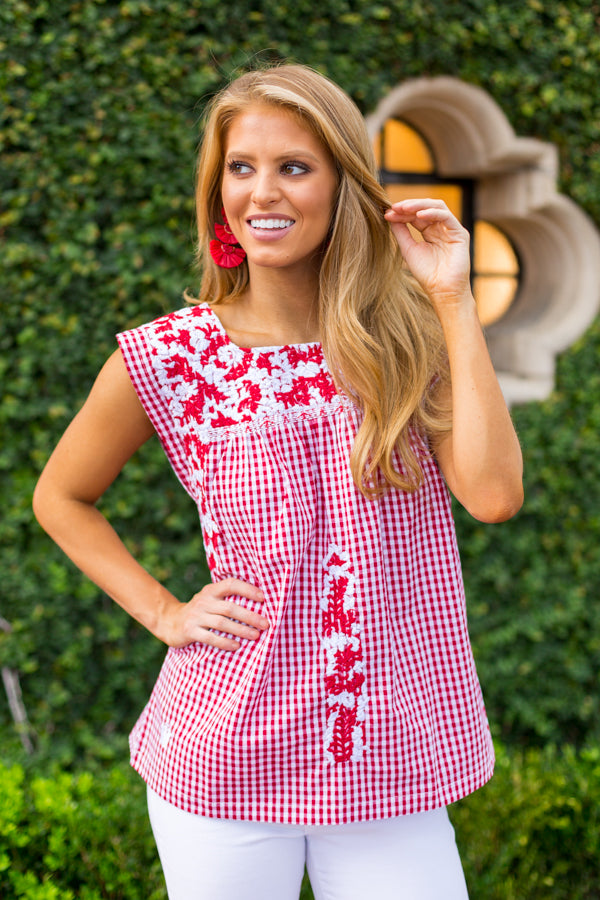The Maddie Top- Red & White