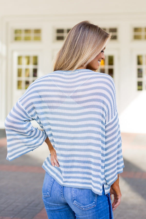 So Light Striped Sweater- Blue
