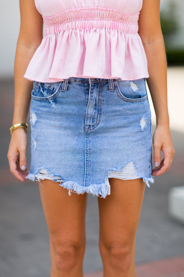 Blue Walk Denim Skirt- Light Wash
