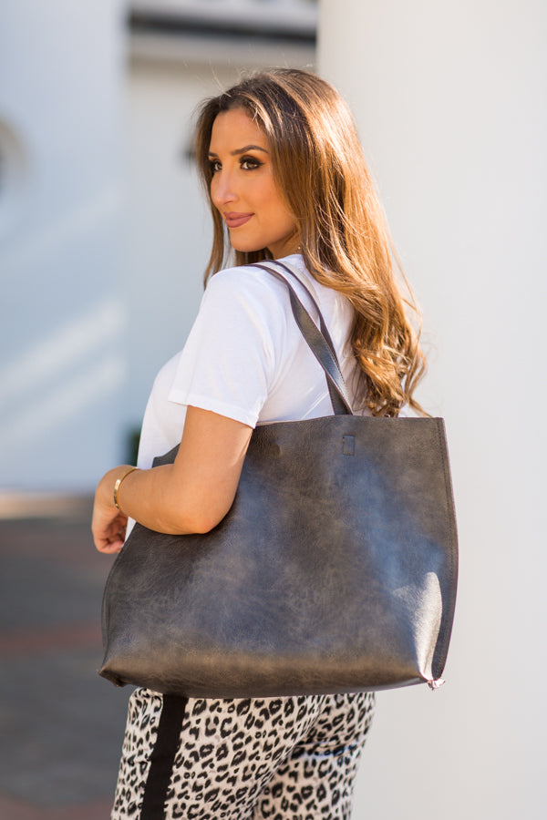 Girl On The Go Tote - Pewter