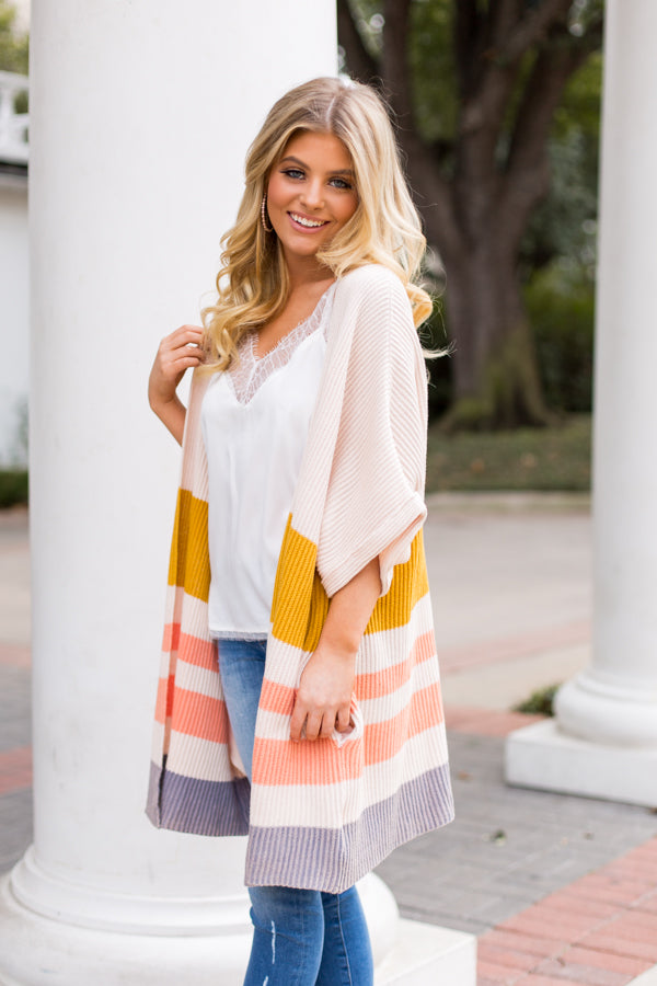 Colorblock Cardigan- Ivory