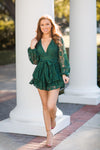 Put Up The Tree Romper - Forest Green