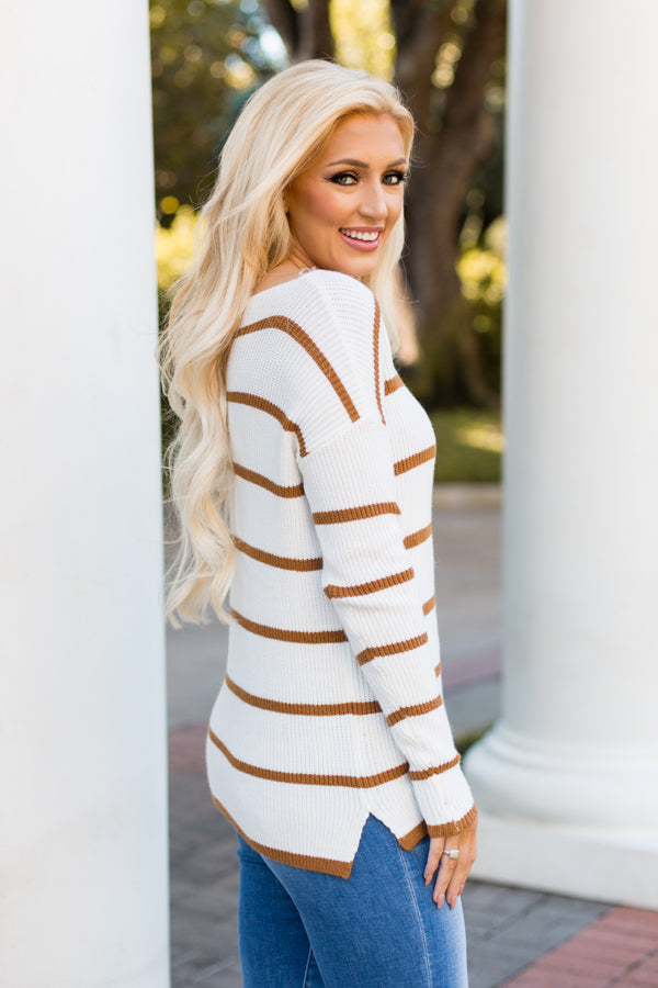 Sweet Stripes Sweater - White and Tan