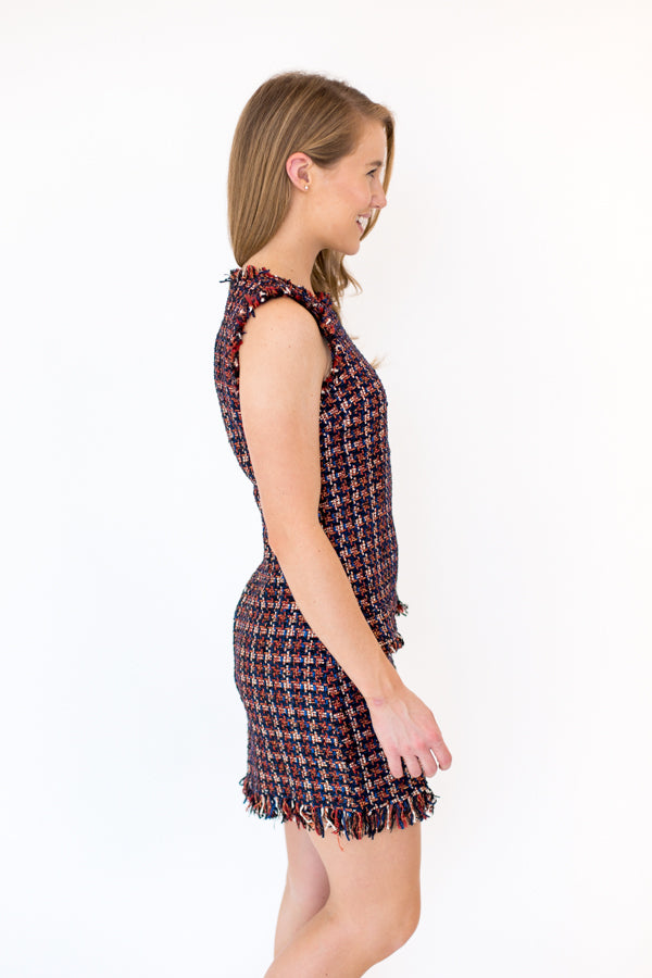 Lunch At The Waldorf Tweed Dress - Multi