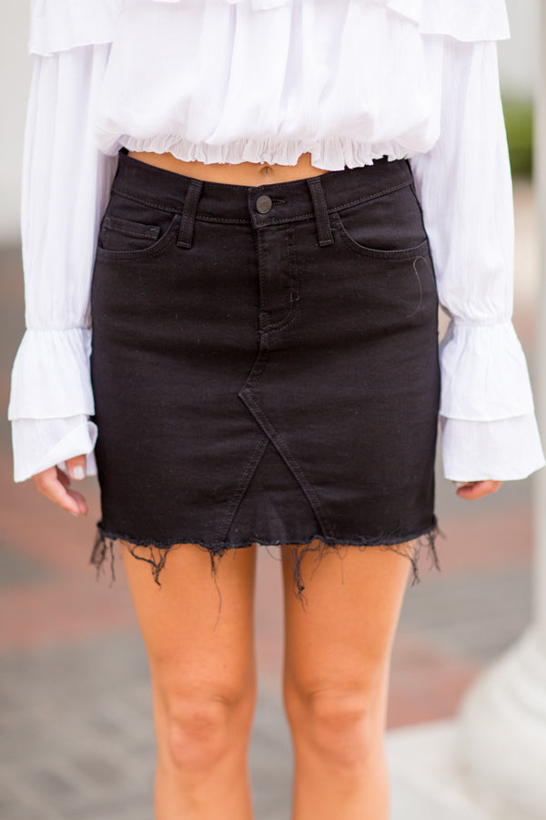 Flying Monkey Denim Skirt- Black