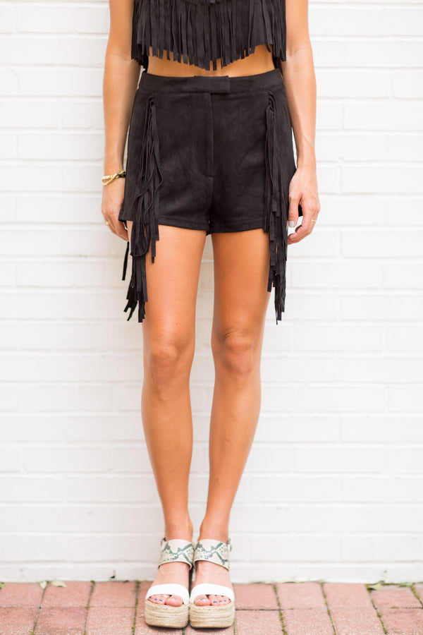 Friday Night Fringe Shorts- Black
