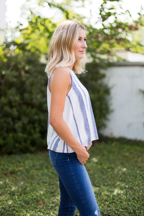 Into The Blue Striped Top