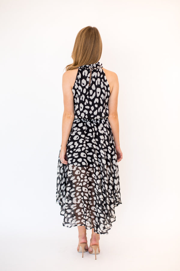Times Square Midi Dress - Black Leopard