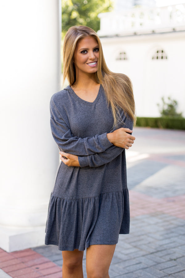 Comfy Cozy Hoodie Dress- Charcoal