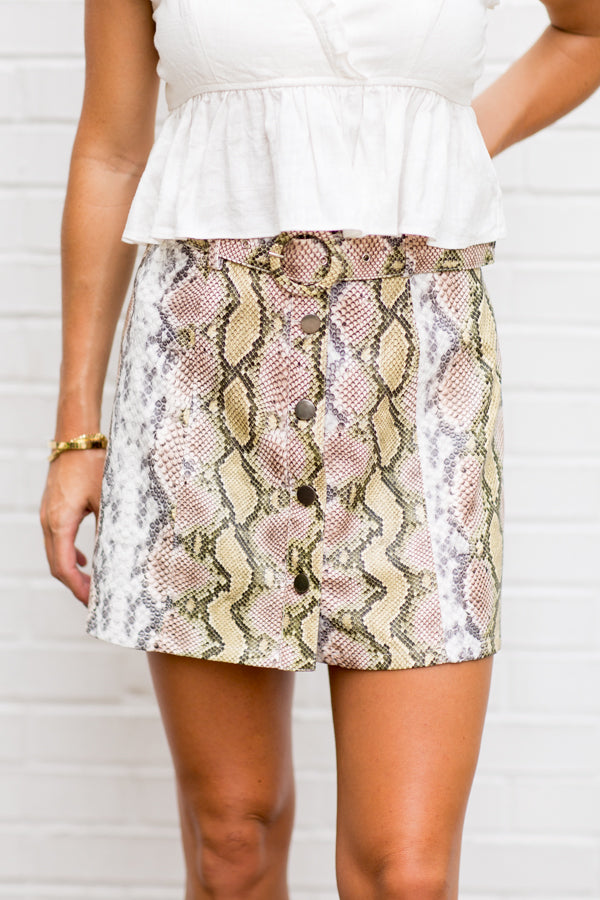 Bite Back Skirt- Snakeskin
