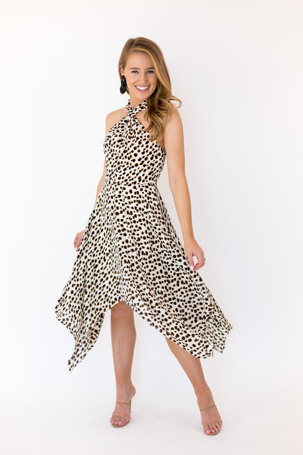 Wild Thrill Midi Dress - Cream Spots