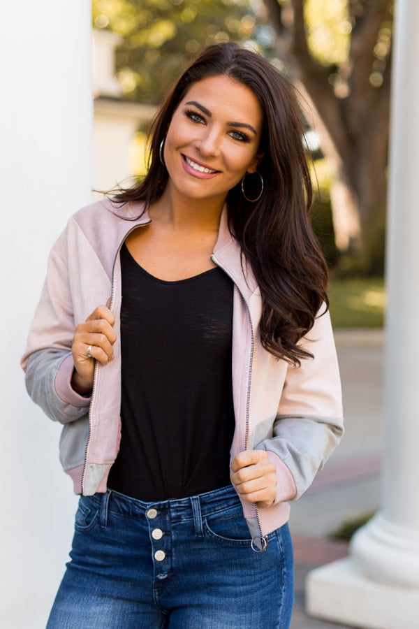The Rad Suede Jacket - Blush