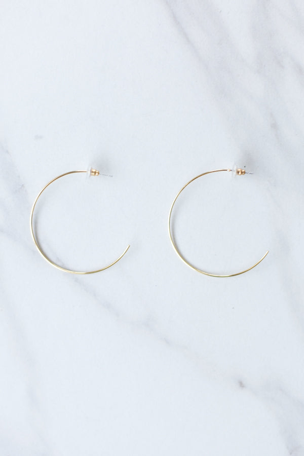 Semi Circle Hoop Earrings- Gold
