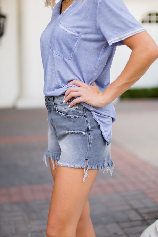 Flying Monkey Distressed Grey Cloud Shorts