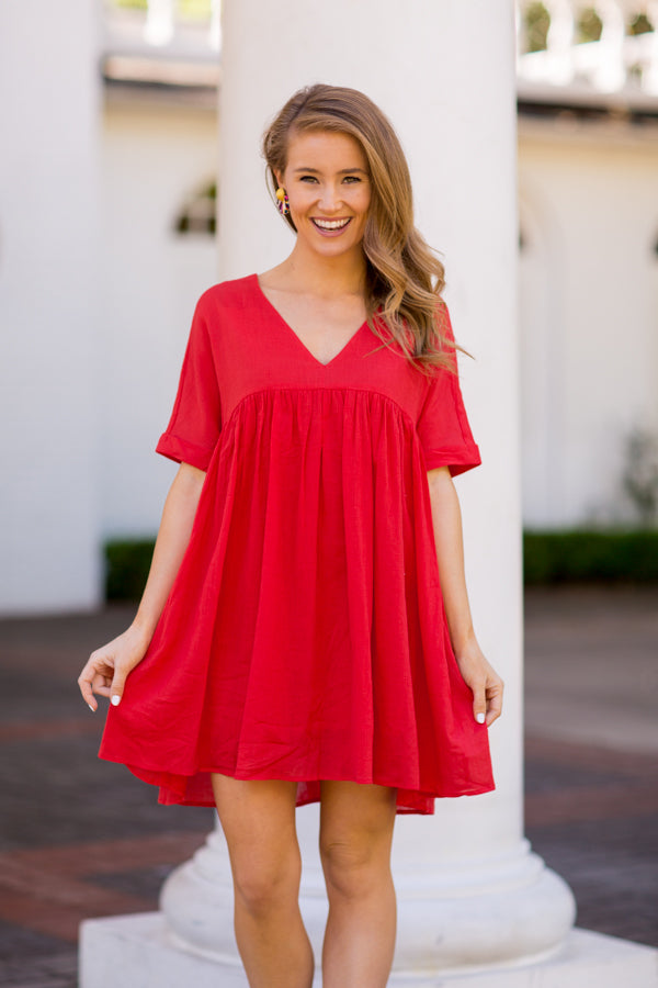 PRE-ORDER Babydoll Babe Dress - Red