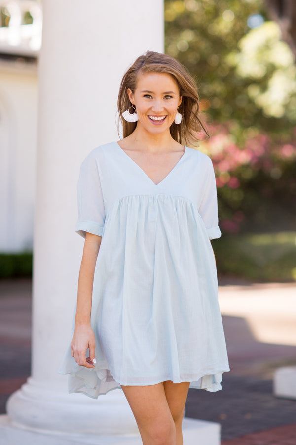 Babydoll Babe Dress - Light Blue