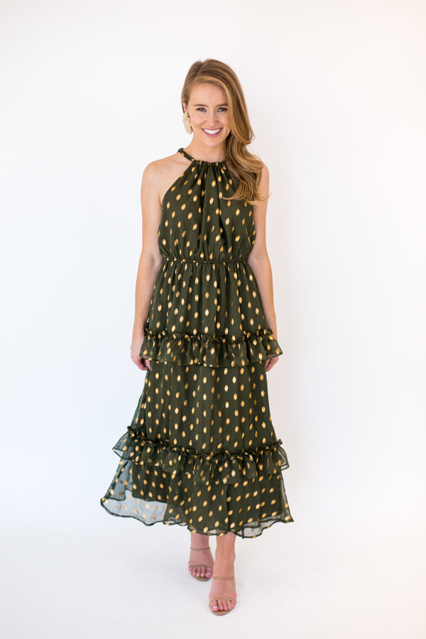 Under The Mistletoe Midi Dress - Green