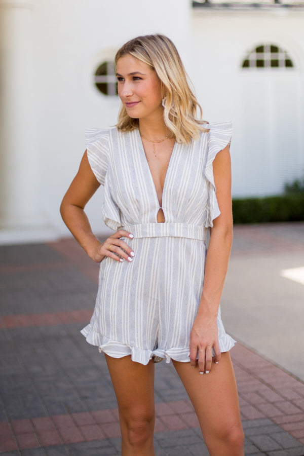 All About It Striped Romper- Grey