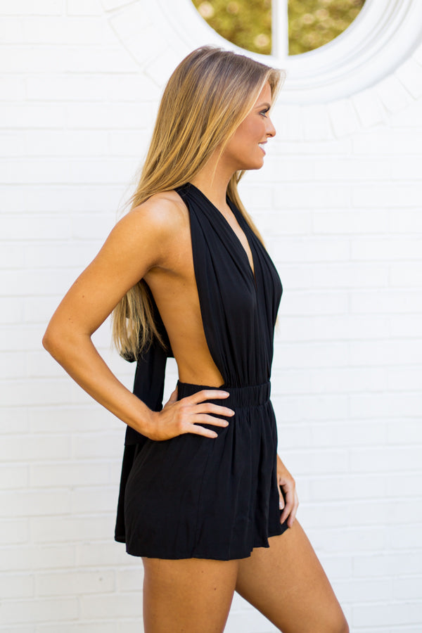 Ribbon Tie Romper- Black