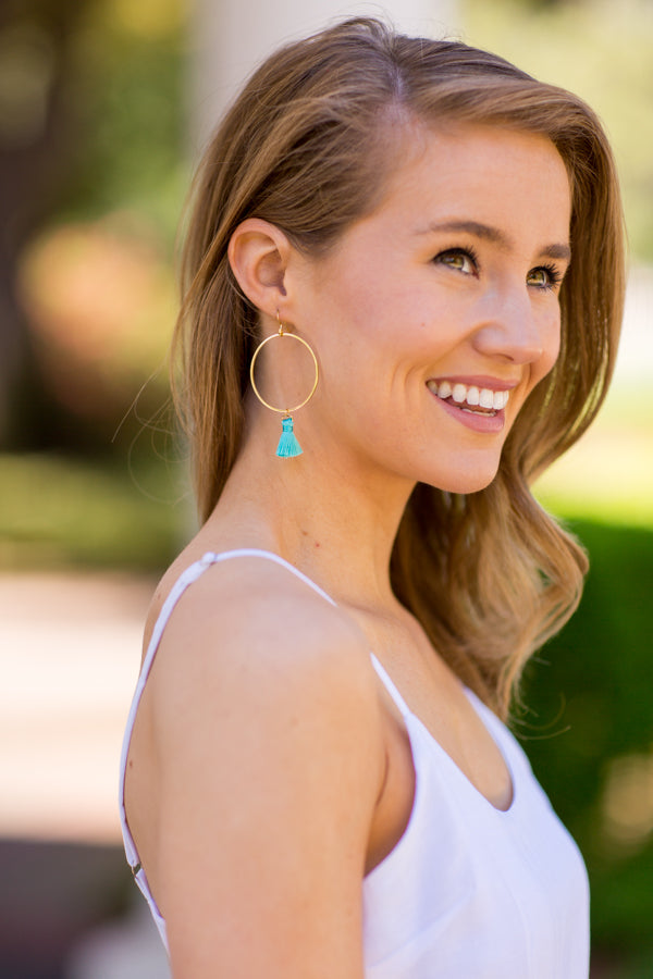 Kelly Tassel Earrings - Turquoise