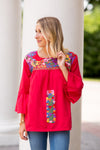 The Catherine Long Sleeve Top - Red