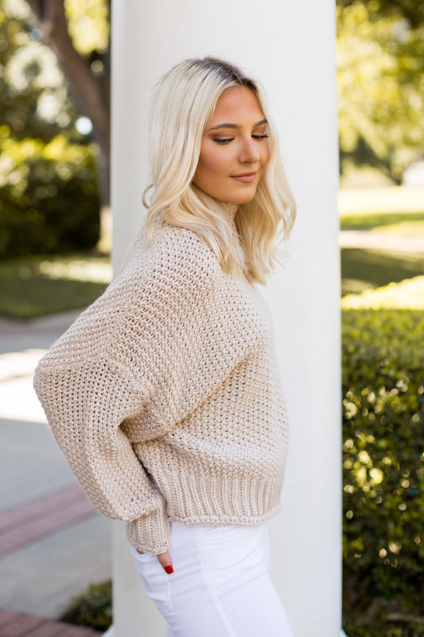 So Chic Turtleneck Sweater- Nude