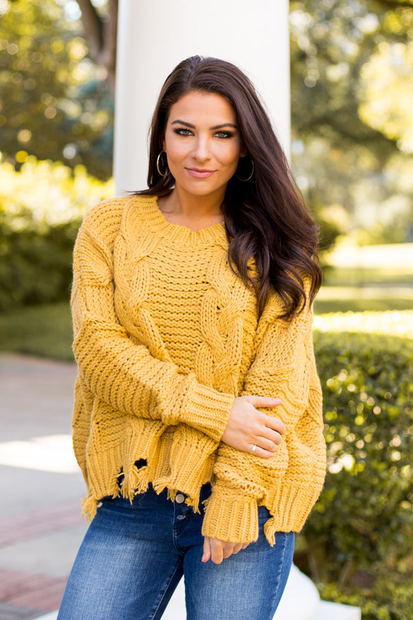 Loose Ends Sweater- Mustard