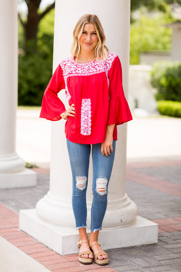 The Regina Long Sleeve Top - Red