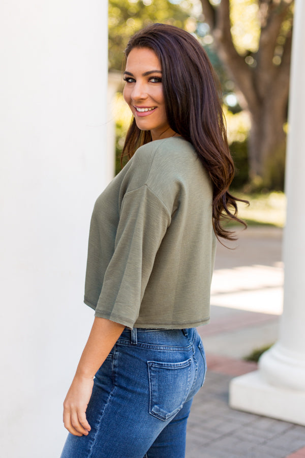 Not A Sweatshirt Crop Top- Olive