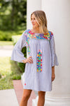 The Ana Maria Long Sleeve Dress- Blue