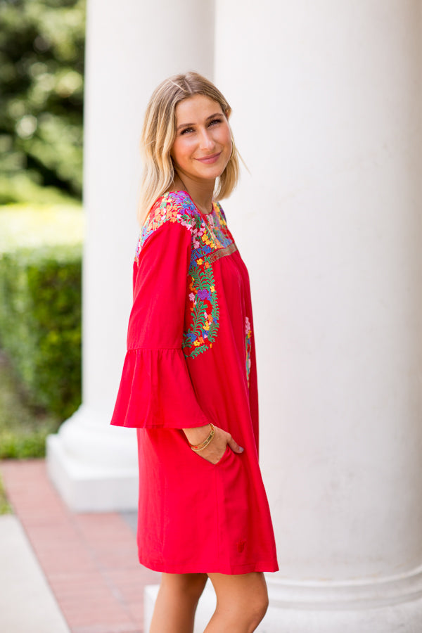 The Catherine Long Sleeve Dress- Red
