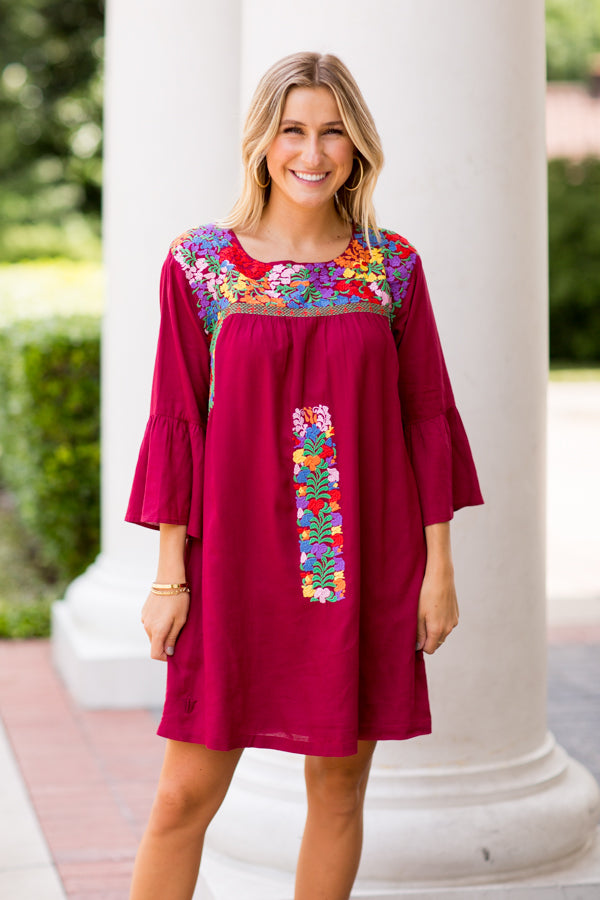 The Bridget Long Sleeve Dress- Burgundy