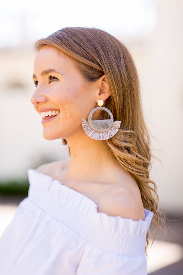 Statement Straw Earrings- Grey