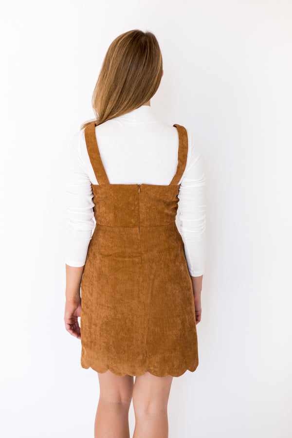 Dress Accordingly Dress - Brown Corduroy
