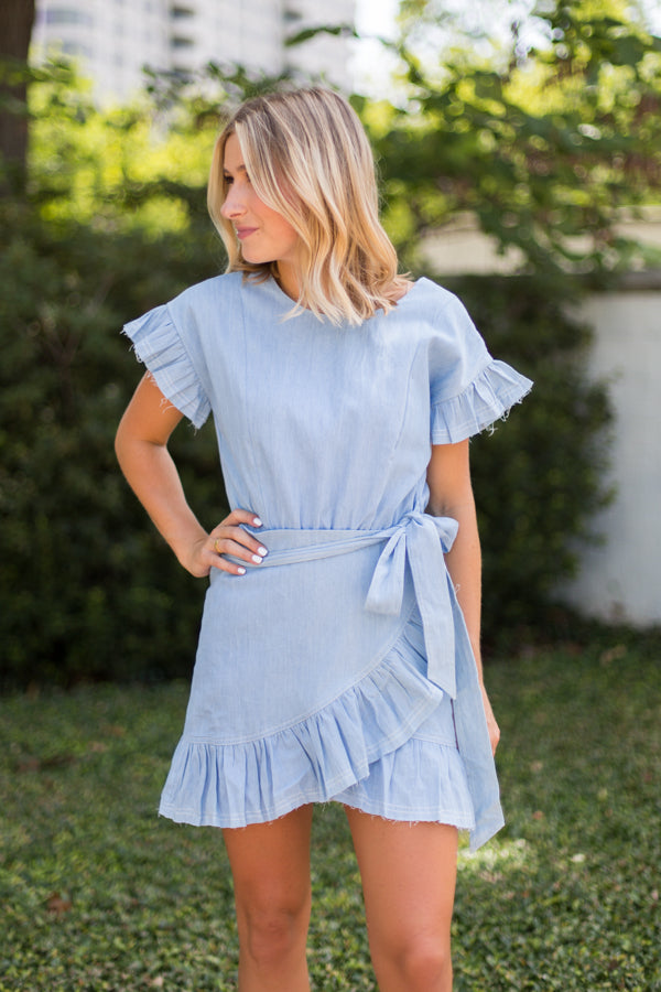 Wrap Around Ruffle Dress- Distressed Blue