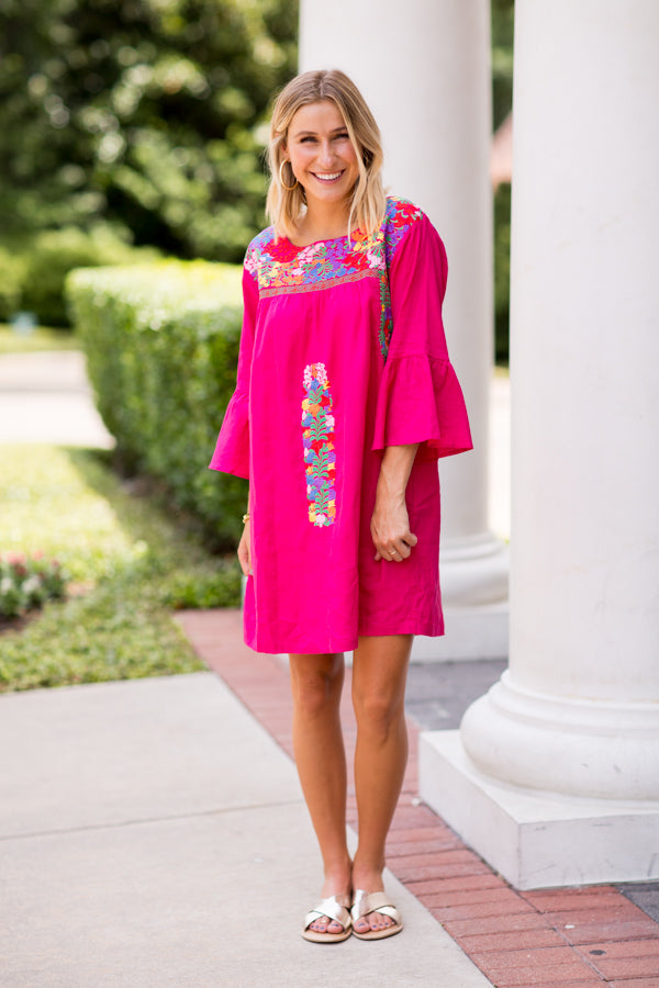 The Rosa Long Sleeve Dress- Fuchsia
