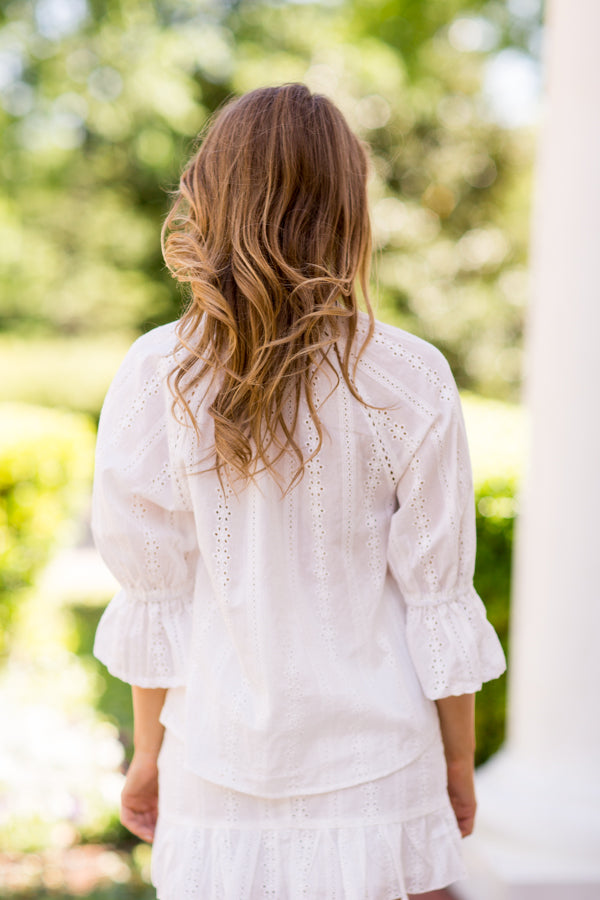 I Do Eyelet Top - White