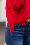 Two Way Distressed Sweater- Red