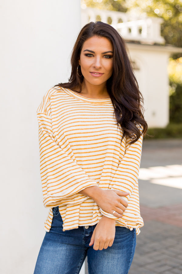 All The Buzz Striped Top- Mustard