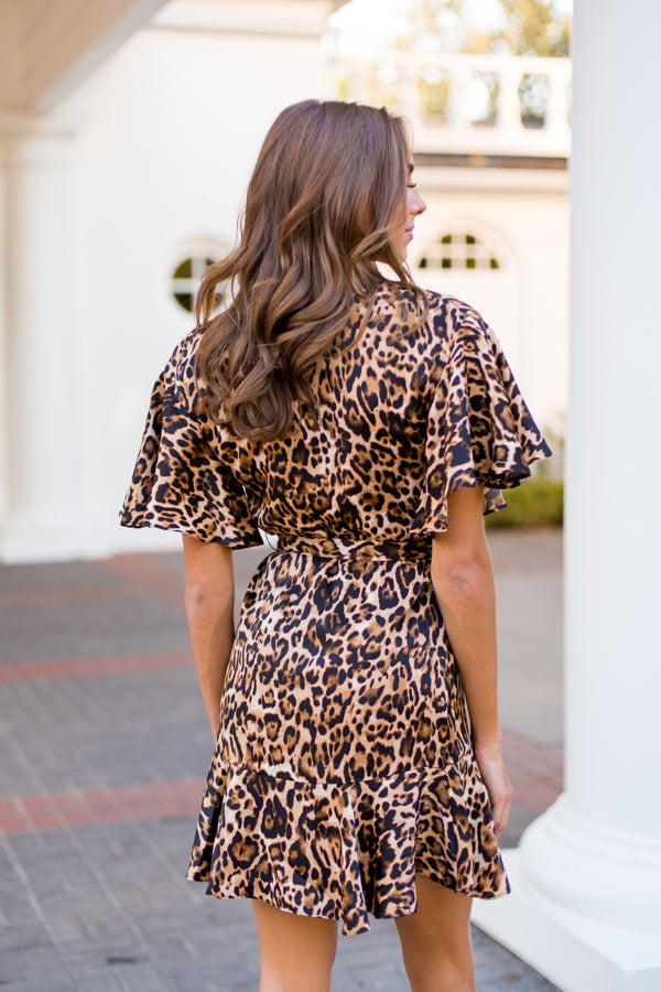 BB Dakota Wild Card Leopard Satin Wrap Dress - Brown