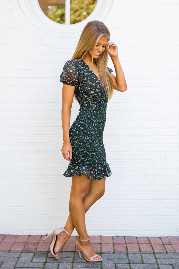 Fall Florals Dress- Hunter Green