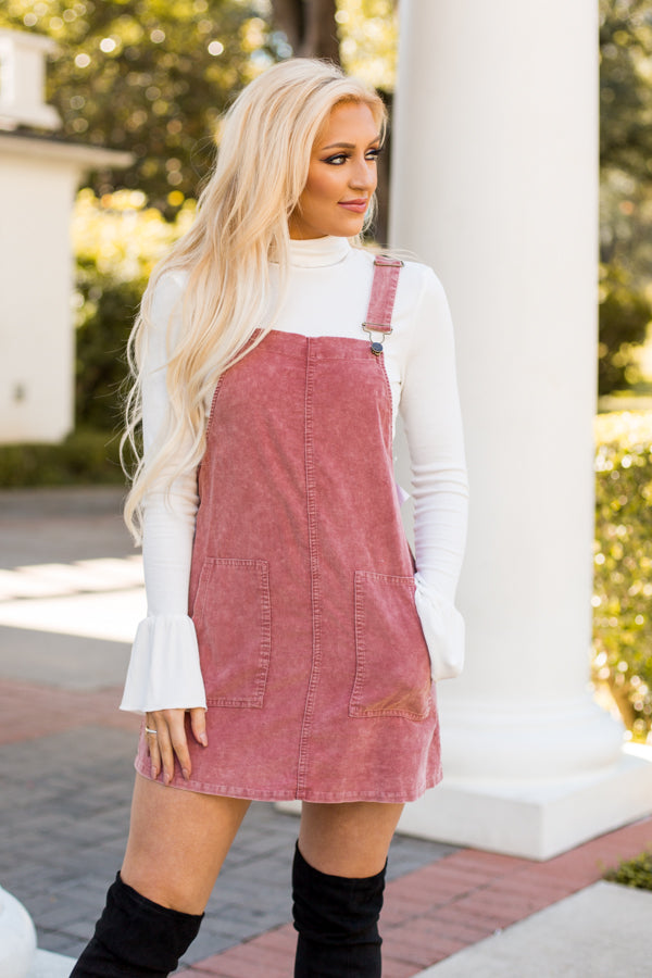 Rose Corduroy Overall Dress- Pink