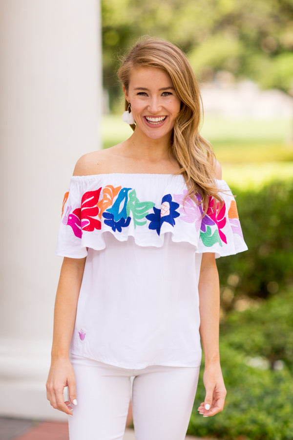 The Maya Off The Shoulder Top - White