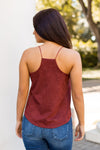 Stay In Suede Top- Brick