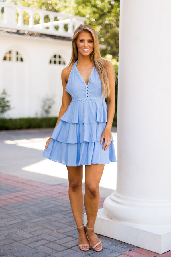 Salsa With Me Dress- Light Blue