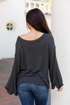Bell Sleeve Lightweight Sweater- Charcoal